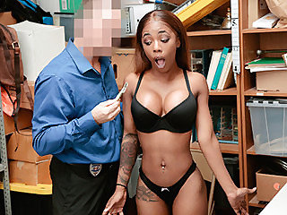 This busty ebony thief chick gets her..