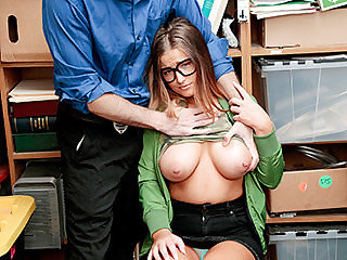Chick in glasses with nice boobs gets..