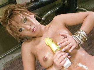 Asian av model Hina Maeda in gold lame..